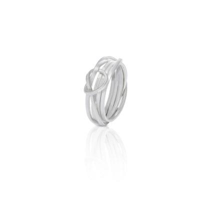 Wikkelknoop ring smal zilver