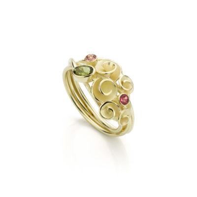 01 - Roosjesring Bouquet 14k goud, roze en groene toermalijn (unicum)