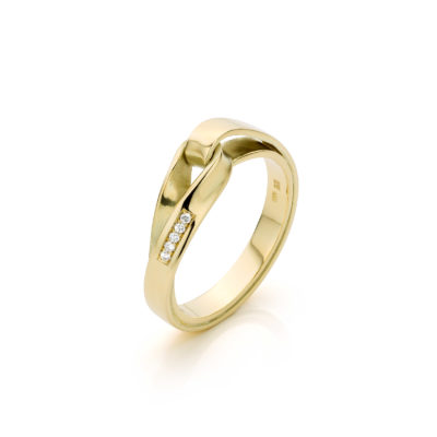 19 - Endless Love Lemniscaat ring 14 k goud met 5 pavé gezette diamanten