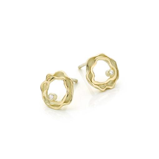 Panta Rhei oorbellen in 14 k goud met diamant