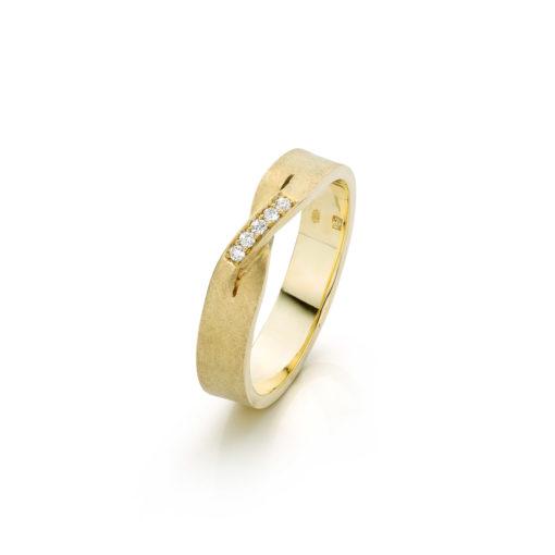Ring together 14 k goud met gekruiste bovenkant en pavé diamantt