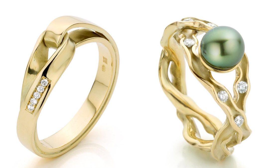 Gouden lemniscaat en Panta Rhei ring met diamant Nicoline van Boven