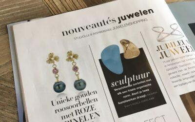 Publicatie gouden Roosjes oorbellen in Nouveau.