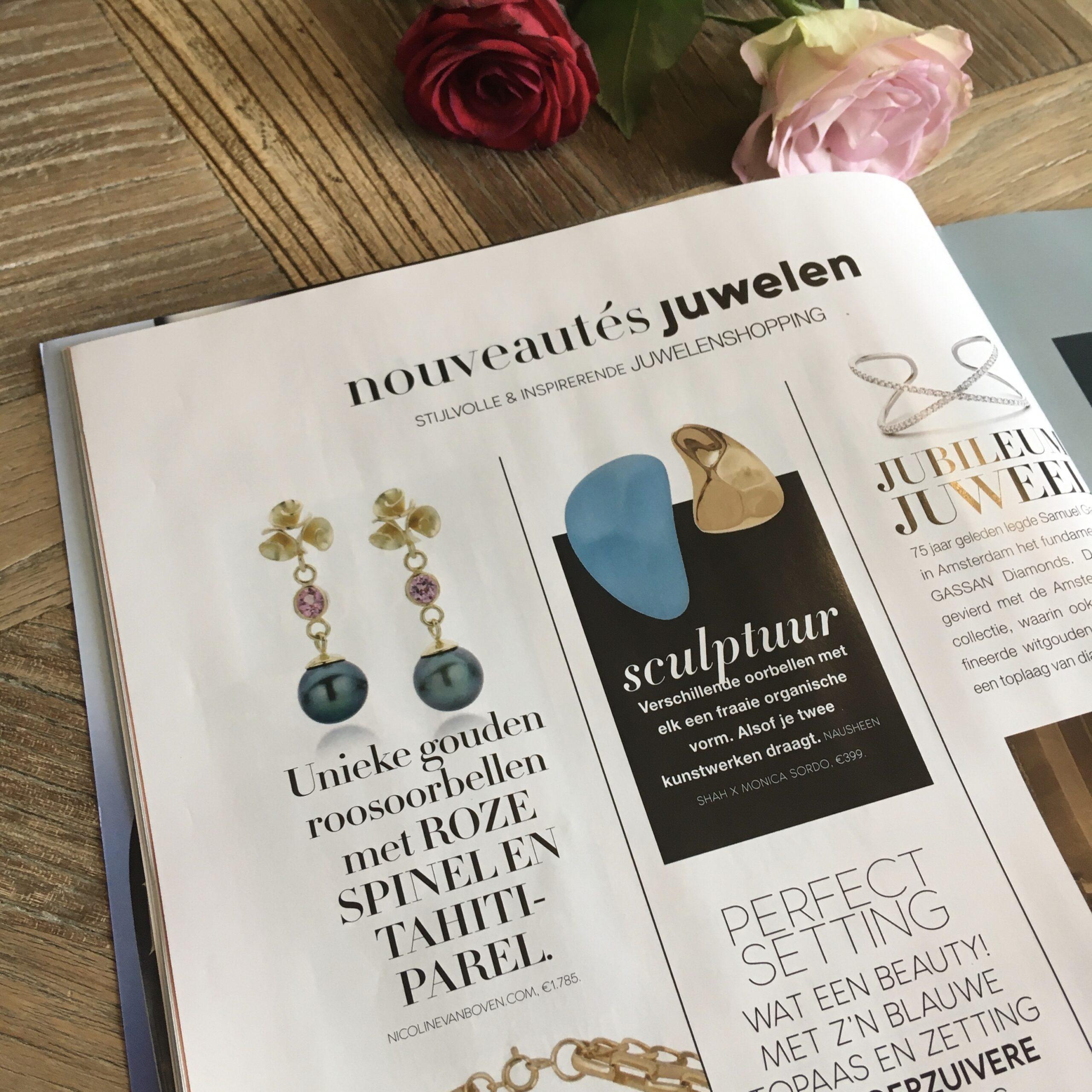 Publicatie Nouveau 13 2020, roosjes oorbellen Nicoline van Boven