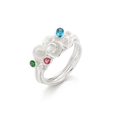 Nicoline van Boven Roosjes Bouquet ring zilver met rainforest, pink en London Blue topaas